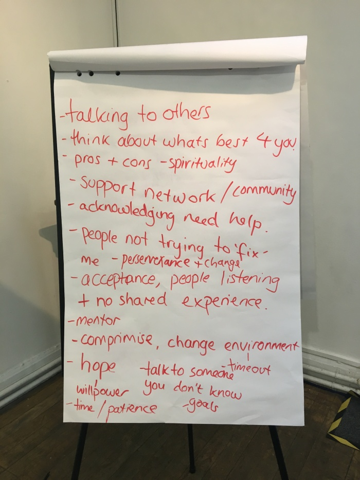 pic of flipchart what helps us when we're stuck